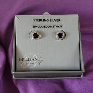 NIB Sterling Silver Simulated Amethyst Earrings